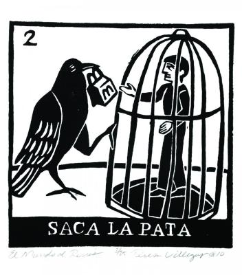 Print of a man in a cage with a bird outside
