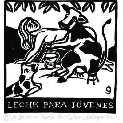 Print of a cow milking a person