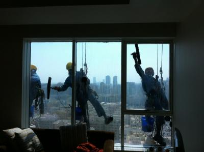 People washing windows