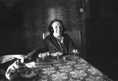woman sitting at a table