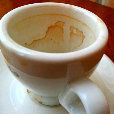 Patterns in coffee cup