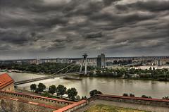 Bratislava city across a river