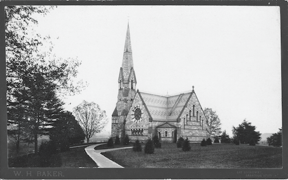 Stearns Church, constructed with funds from William F. Stearns, the son of an Amherst College president, was completed in 1873. After standing for seventy-six years, the structure, excluding the steeple, was demolished in 1949, and the Mead Art Museum was built on its former site. Buildings and Grounds Collection, Amherst College Archives & Special Collections.