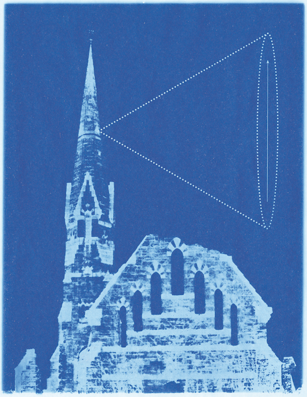 Keats's site plan for the Millennium Camera installation, demonstrating its position at the summit of Stearns Steeple. Courtesy of the Mead Art Museum; gift of the artist.