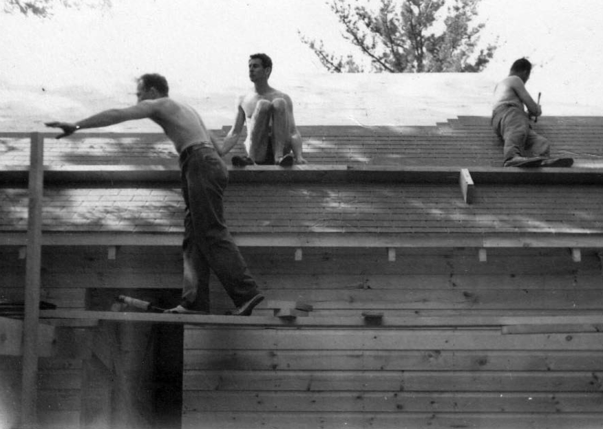 Men on a roof
