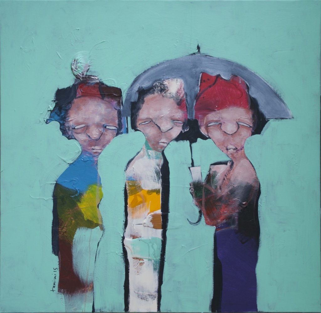 Painting of three figures under an umbrella