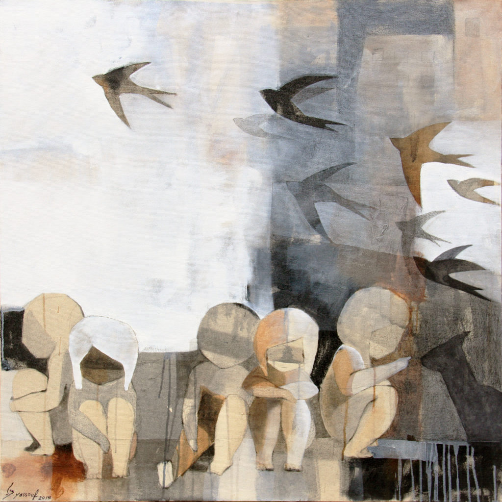 Collage of children and birds