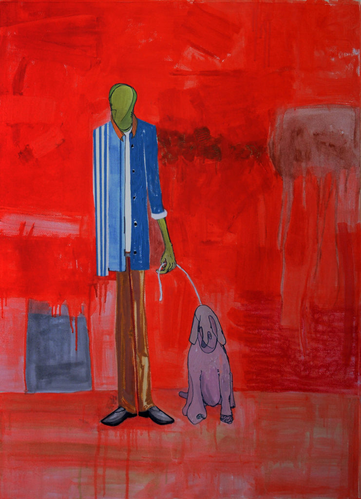 Painting-- man walking a dog