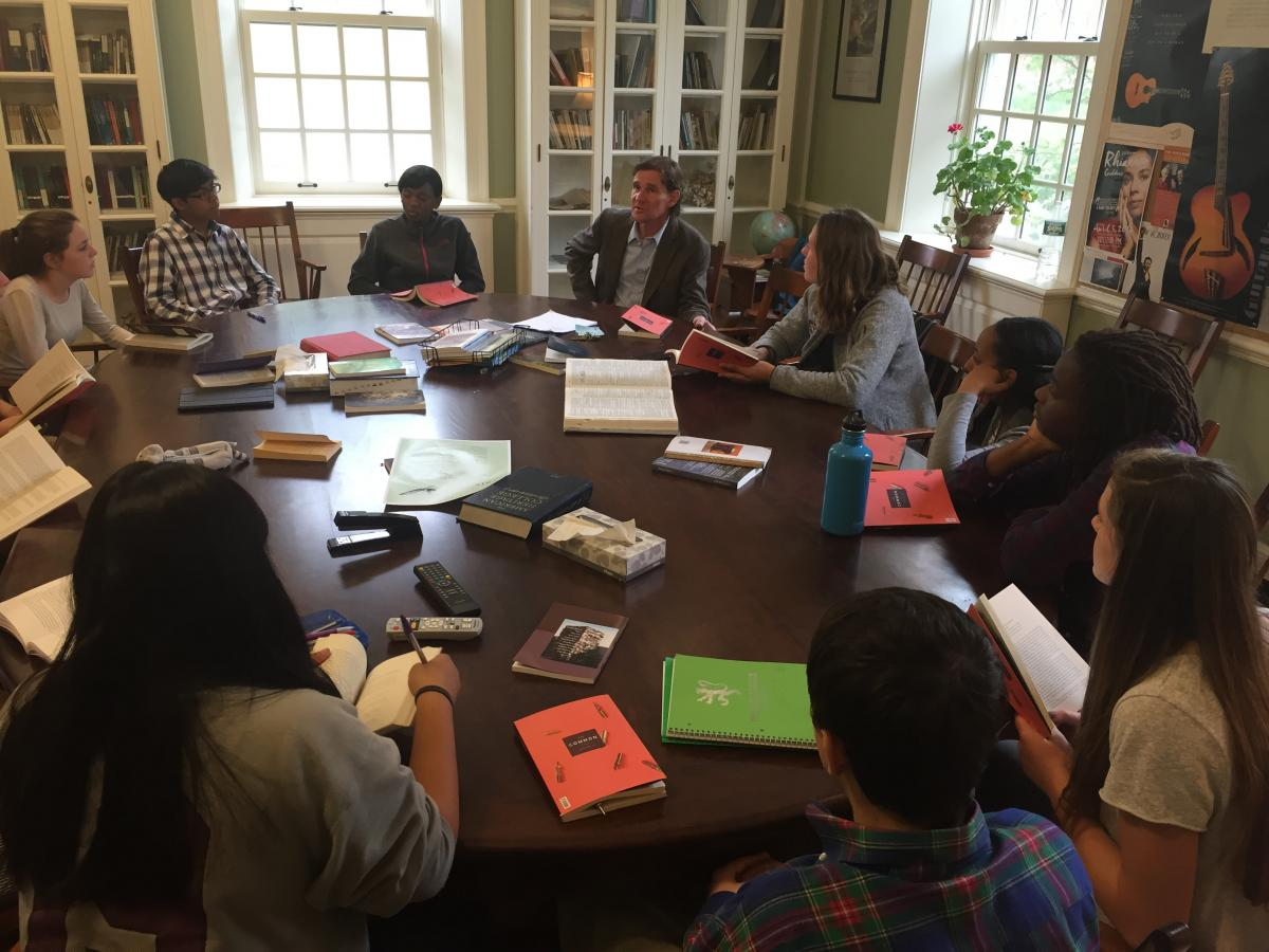Contributor Todd Hearon discusses his work in Issue 10 with students at Phillips Exeter Academy, in a class led by TCIC teacher Ralph Sneeden.