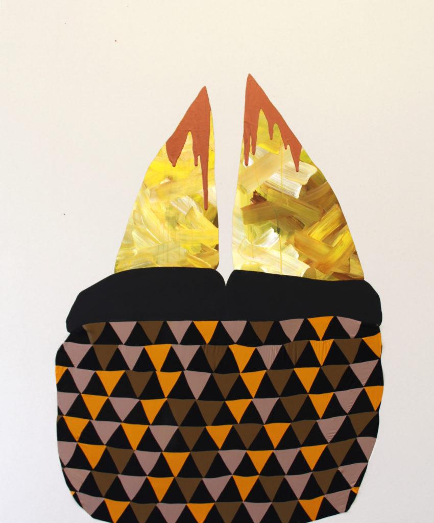 MirrorMirror. 2014. Fabric, black gesso, acrylic, and canvas. 84 x 72 inches.