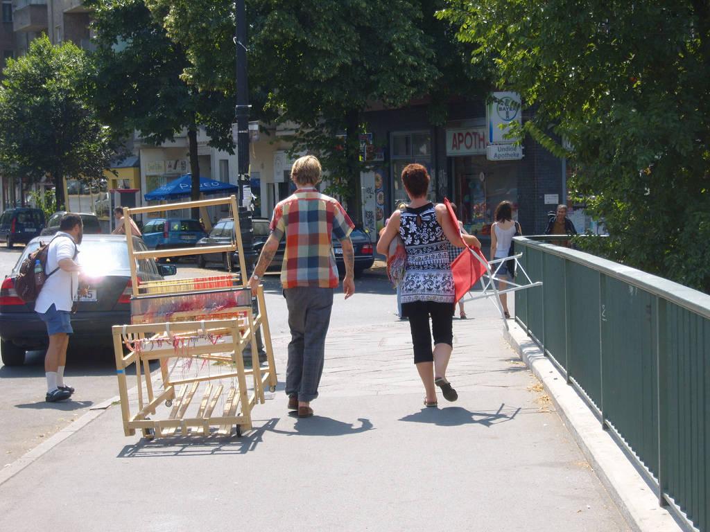 Action Weaver, Travis Meinolf wheels his loom, Berlin, 2010