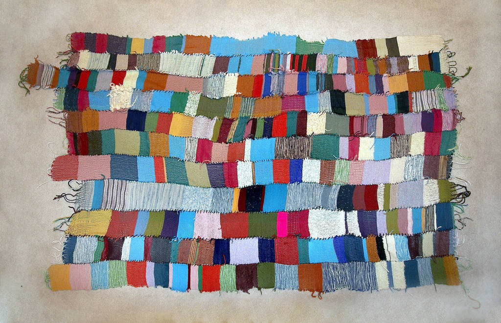 Collectively woven blanket organized by Travis Meinolf, The Weaving Place, Vancouver Art Museum, 2008
