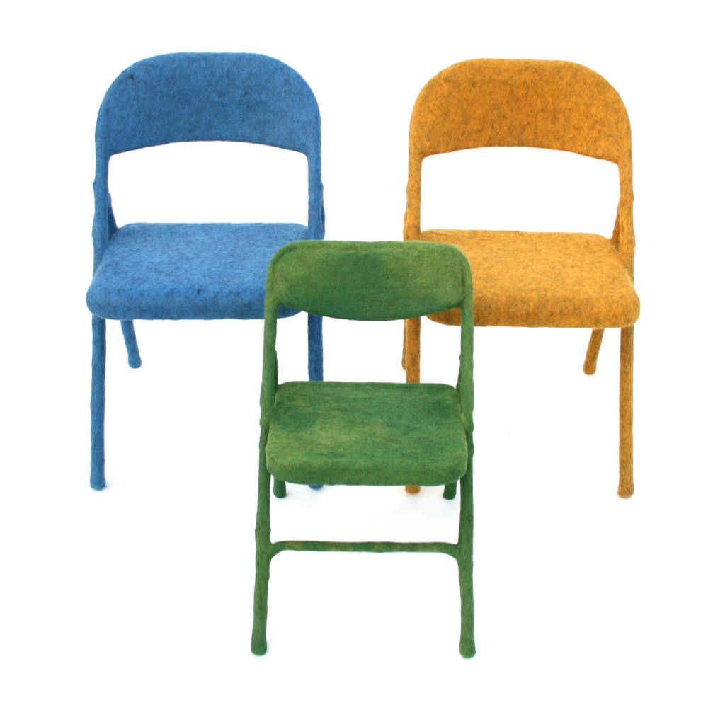 blue, green, and yellow felt chairs