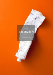 Cover of The Common Issue 14, showing a crinkled tube of white paint on an orange background