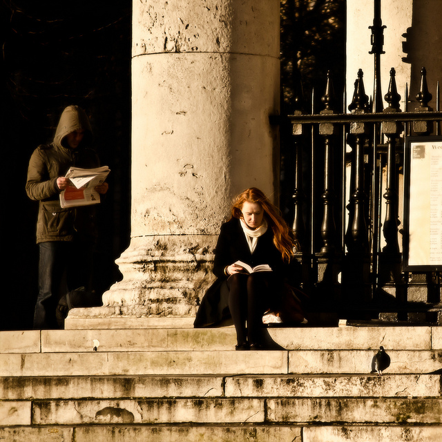 person on the steps