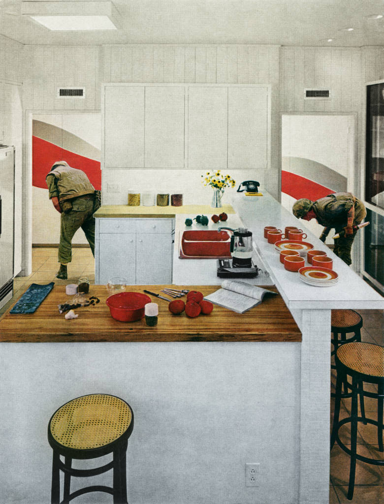 Red Stripe Kitchen, from House Beautiful: Bringing the War Home 1967-72.