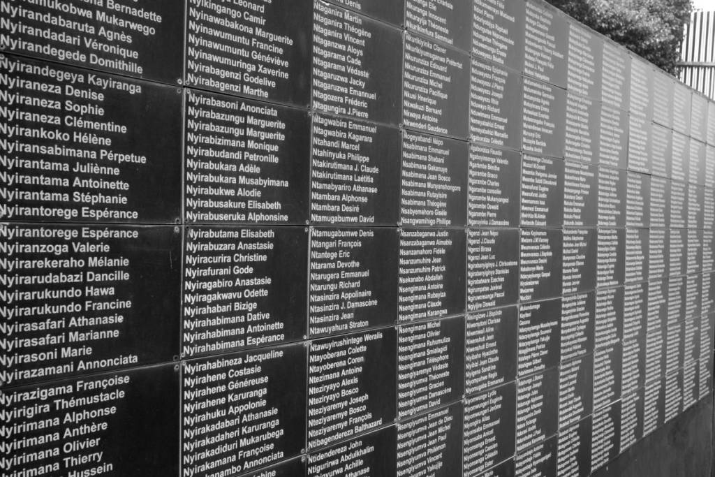 Victims of the 1994 genocide are engraved in a wall in the Kigali Genocide Memorial Center in the capital of Rwanda.