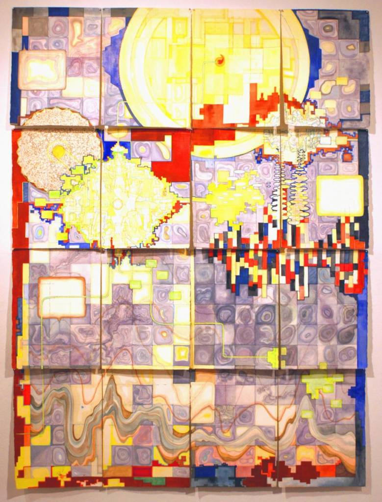 Untitled world, 2012 Watercolor, marker, pencil on cut leaves of paper, 4ft x 5ft
