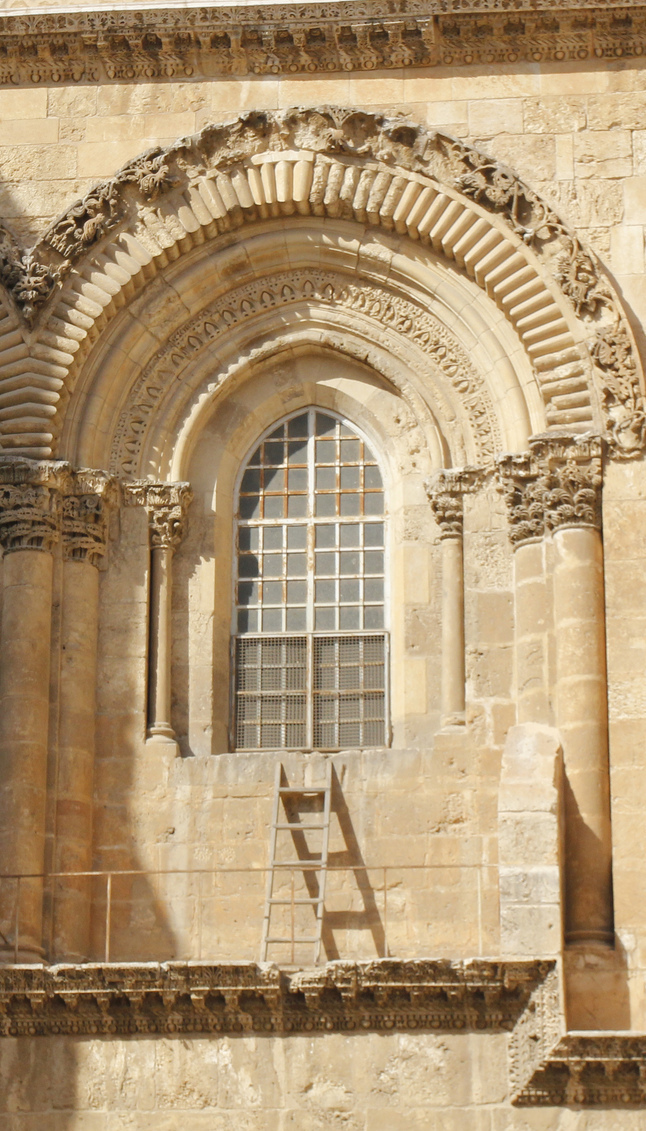 The Immovable Ladder at the Church of the Holy Sepulcher, Jerusalem