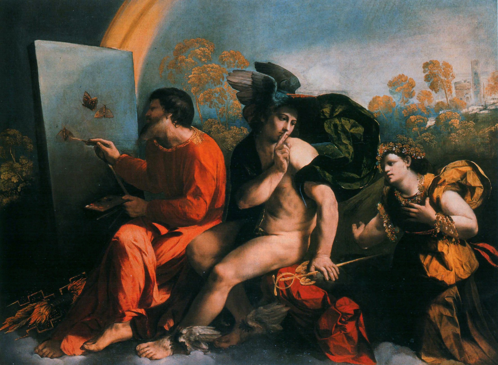Review of Dosso Dossi's Jupiter Painting Butterflies, Mercury and Virtue, 1555