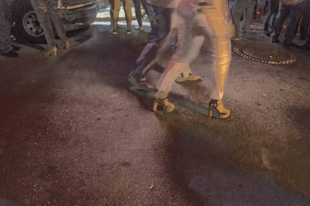 Blurry image of a woman walking
