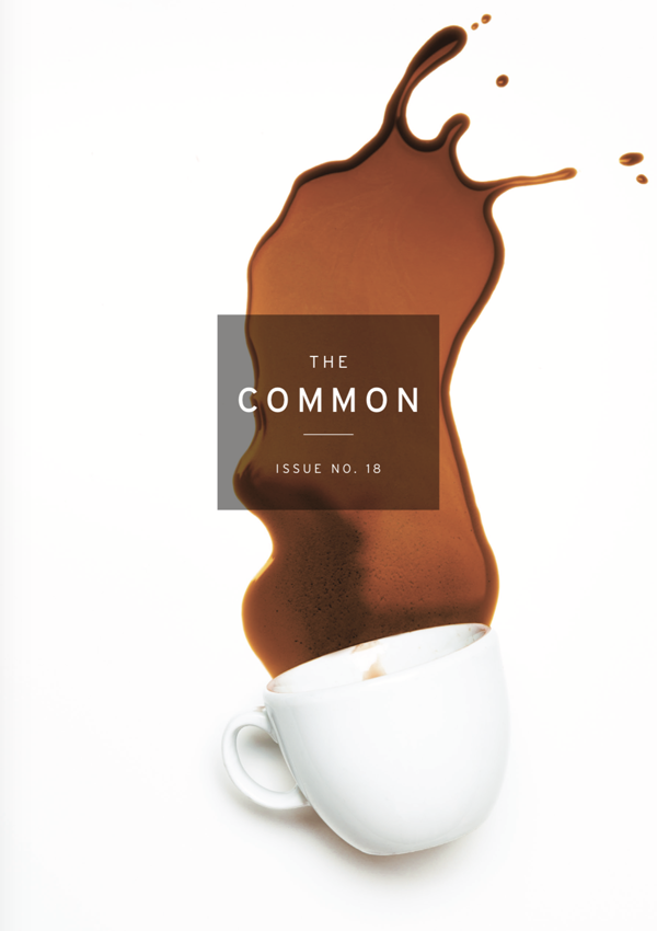 Issue 18 cover, a spilled cup of coffee on a white background