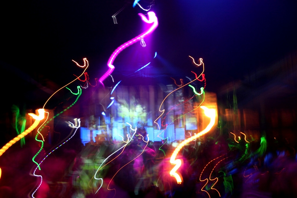 Colorful lights at a party