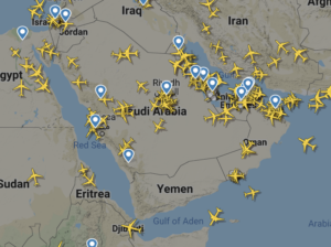 Airplanes over a map of the Arabian gulf