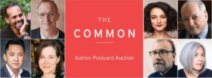 Image of TC logo with headshots of authors participating in postcard auction