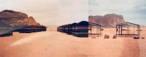 Image of tents in a Bedouin-style camp at the Wadi Rum desert in southern Jordan