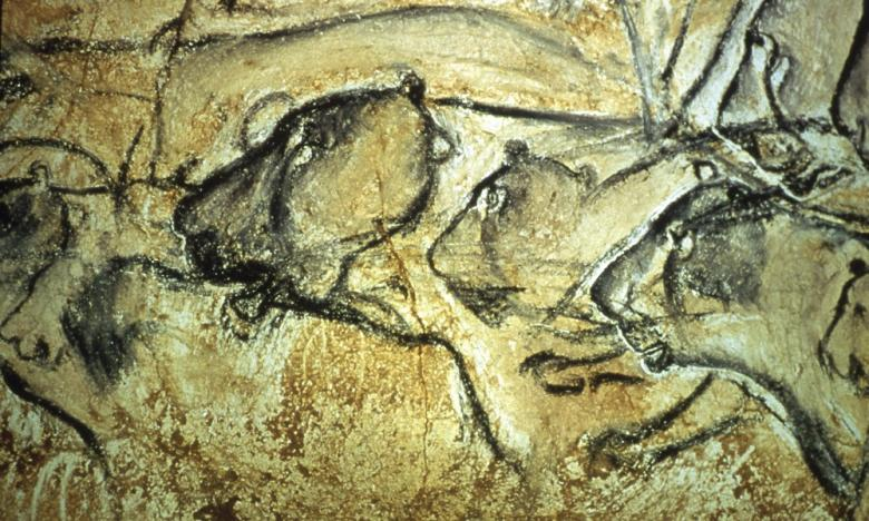 The Chauvet-Pont-d'Arc cave paintings, in the Ardèche department of southeastern France.