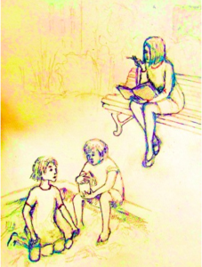 Image of children playing in a sandbox while a woman watches.